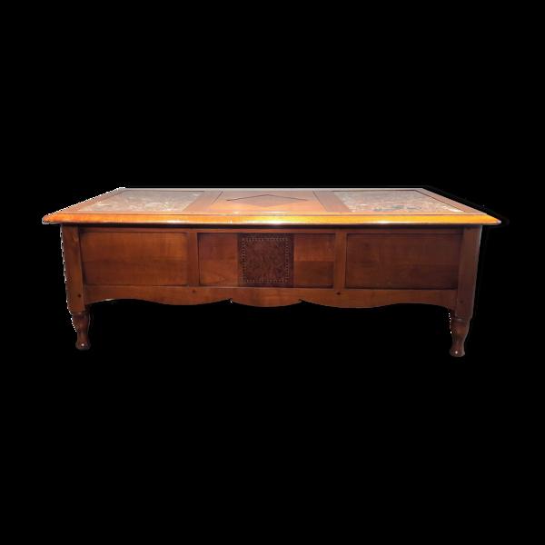 Table de salon merisier avec cache secrète
