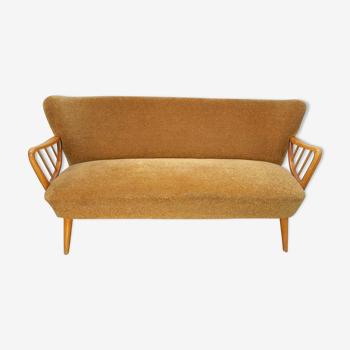 Sofa sofa cocktail Danish Scandinavian organic vintage 50/60s golden yellow