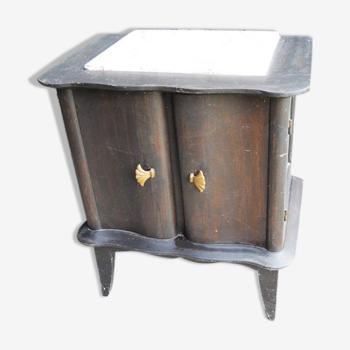 Table de chevet en bois peint avec plateau marbre