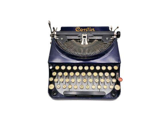 Machine à écrire Contin France bleue révisée ruban neuf 1930