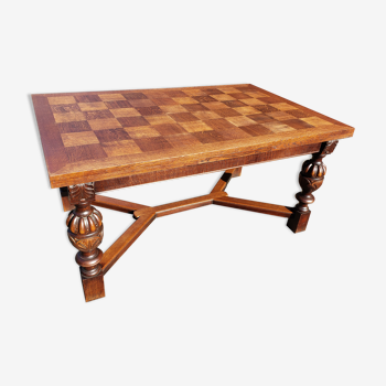 Jacobin-style extendable drawer dining table in solid oak from the 1910s