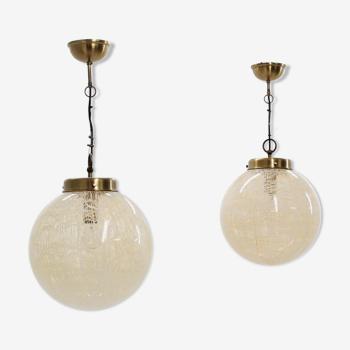Ensemble de 2 globes suspendu lampe La Murrina années 1970
