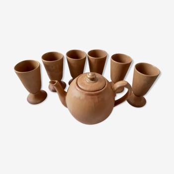 Service à thé théière et mazagrans en terre cuite, grès vintage