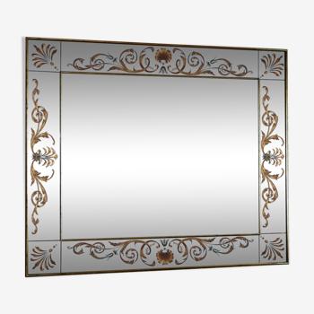 Miroir églomisé à décor floral 110x130cm