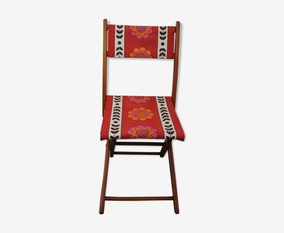 Chaise pliante tissu vintage