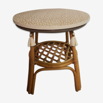 Table d'appoint vintage bambou et rotin relookée