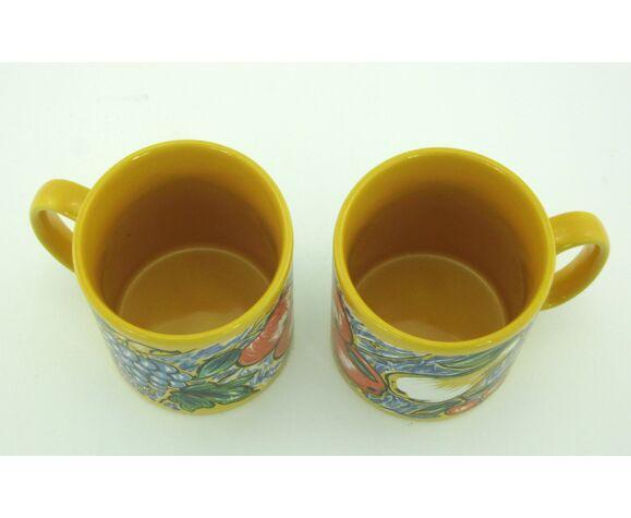 2 mugs en céramique jaune décor fruits, Tams Staffordshire, Made in England 1980