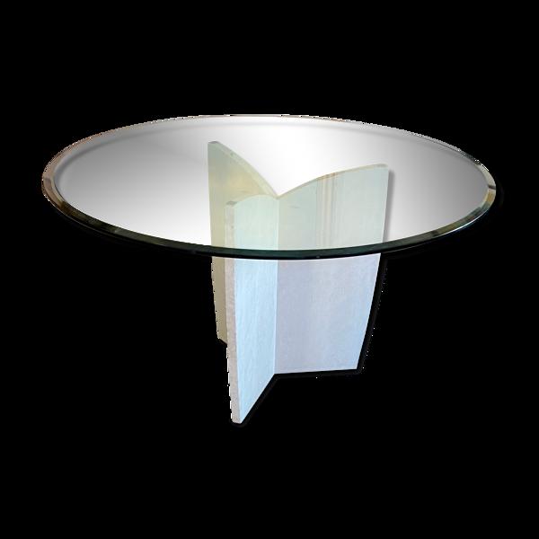Table de salle à manger design pied en travertin