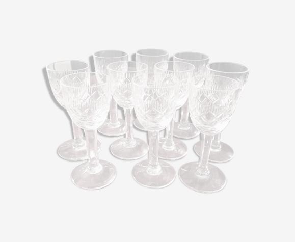 Suite de 10 verres à gouttes Lemberg Cristal de Lorraine