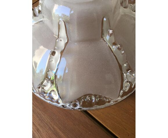3 abat-jours art-déco en verre avec signature moulée sur la bordure intérieure EZAN France