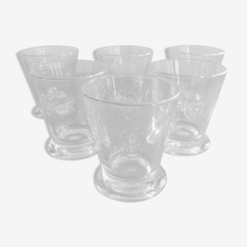 """Ensemble de 6 verres a whisky """"fleurs de lys""""en verre clairet france vintage"""