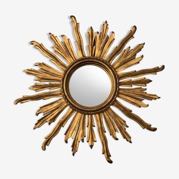 Miroir soleil en bois doré diamètre 82 cm