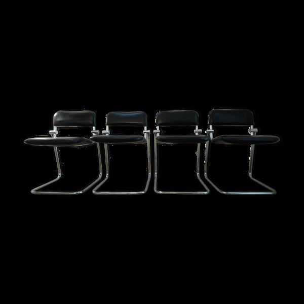 Selency Suite de 4 chaises chrome et skai noir vintage