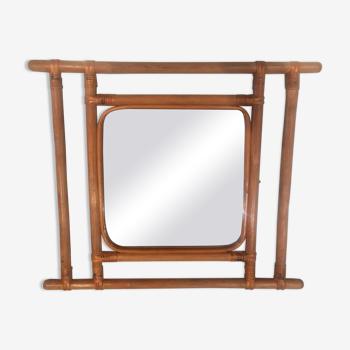 Miroir en bambou vintage