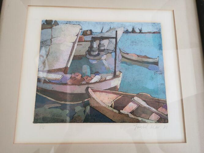 Lithographie port marina bateaux signée Isabel numérotée 1/5 tableau peinture marine