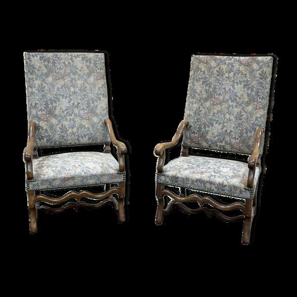 Selency Paire de fauteuils en noyer des années 50