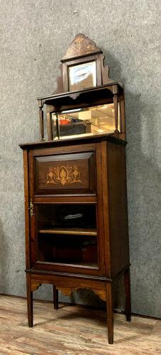 Vitrine d'apparat époque Napoléon III en marqueterie de bois précieux vers 1850