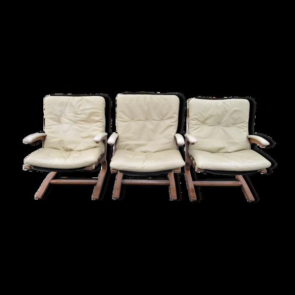 Ensemble de trois fauteuils Rybo Rykken & Co. Norvège, années 1970