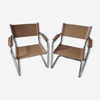 Paire de fauteuils cuir et chrome