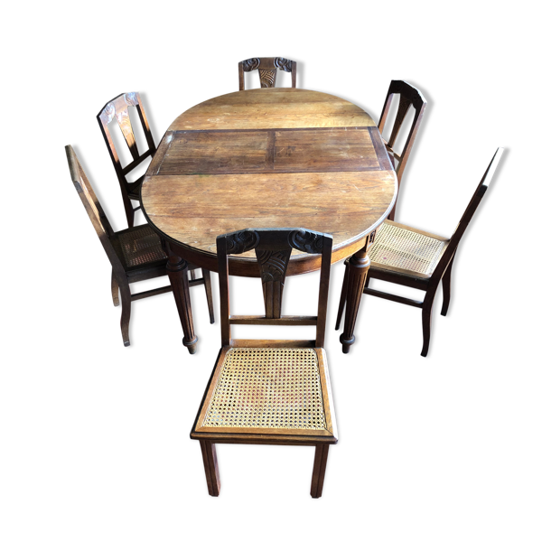 Table ovale et 6 chaines cannées