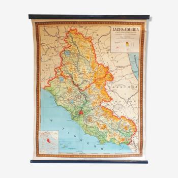 Carte scolaire vintage du Latium et de l'Ombrie en Italie