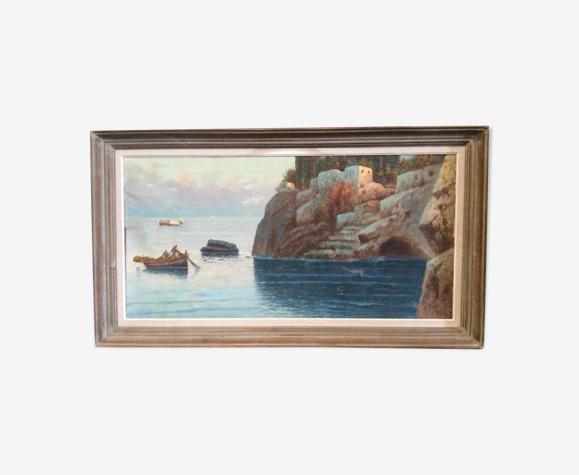 Tableau peinture à l'huile Palerme Sicile 1950