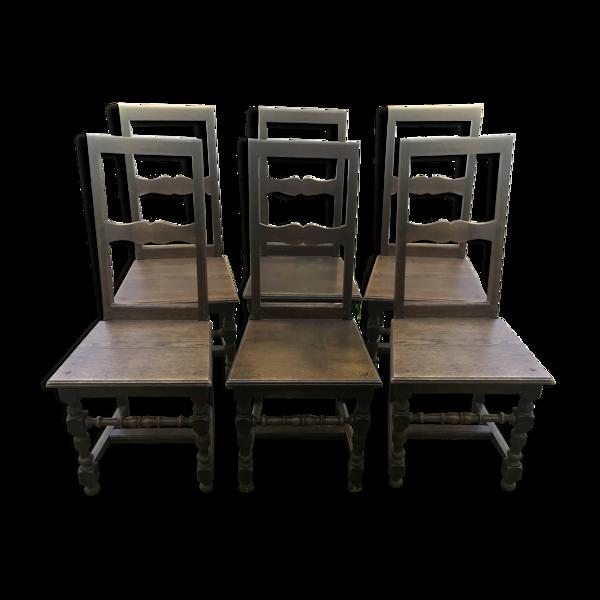Set de 6 chaises Lorraines chêne massif