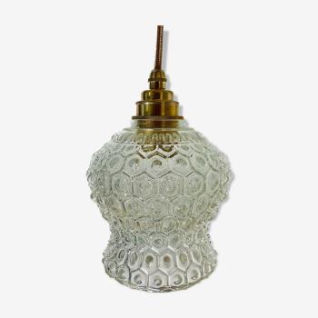 Lampe baladeuse vintage  en verre moulé pressé