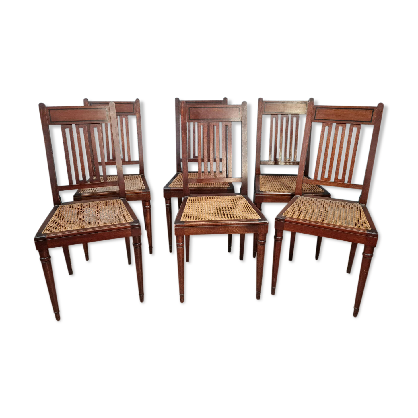 Série de 6 chaises style Louis XVI en acajou et filet d'ébène vers 1900