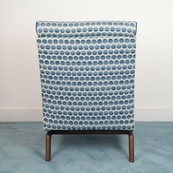 Armchair chair fabric wood design 70s vintage