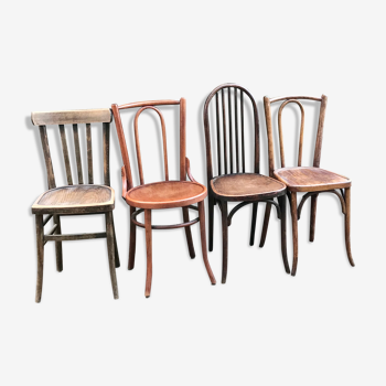 Lot de 4 chaises bistrot dépareillées