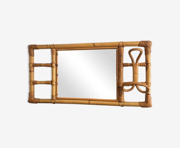 Miroir avec patère en rotin années 60