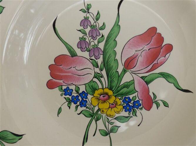 Assiettes vintage bouquet de tulipes Lunéville Keller et Guérin