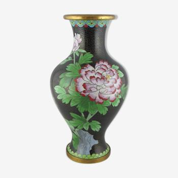 Vase chinois en bronze émail cloisonné