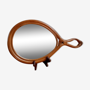 Miroir à main rotin  39x19 cm