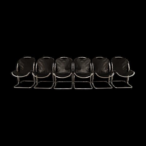 Chaises à manger chromées vintage, années 1970
