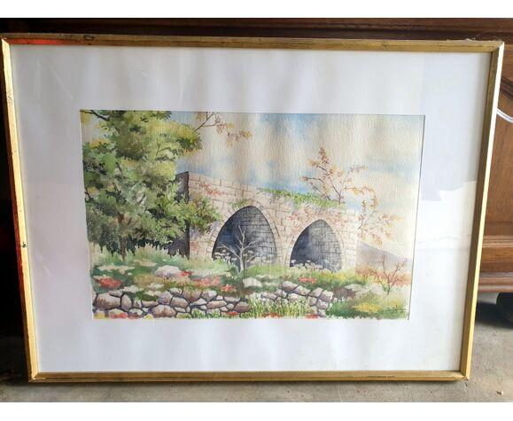 Simon Sfeir (XX-XXIème siècle), peintre libanais - aquarelle sur papier - Arcades