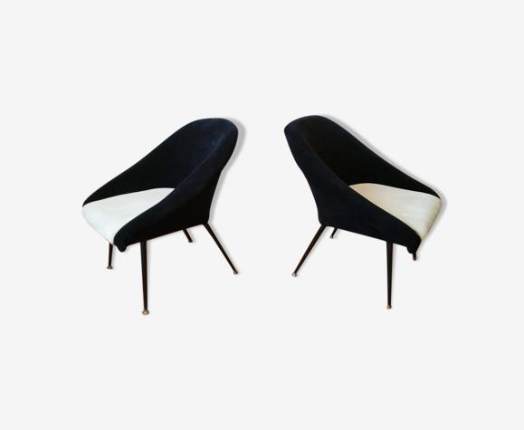 Pair of cocktail chairs basket Bi color restored 50 st. 60 feet metal