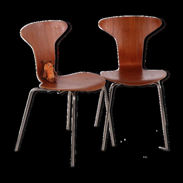 Selency Paire de chaises  Mosquito 3105 d'Arne Jacobsen par Fritz Hansen années 1950