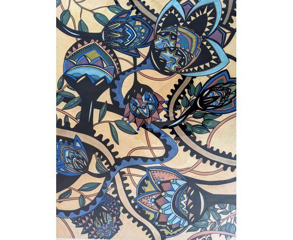 Peinture illustration originale motifs fleurs