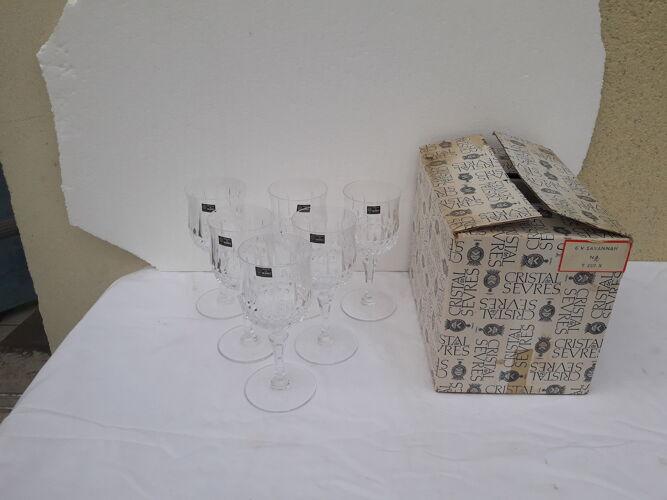 Set de 6 verres à eau estampillés cristal de Sèvres modèle Savannah H 17 cm jamais servis