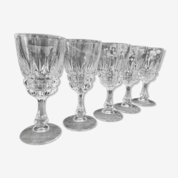 Lot de 5 verres à pied Cristal d'Arques