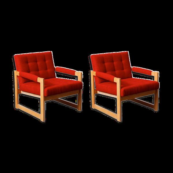 Selency Set de fauteuils en frêne Hongrie 1960