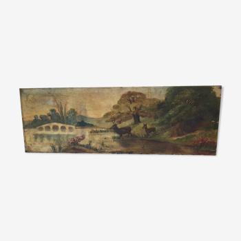 Huile sur toile signé m.Hebert 1908