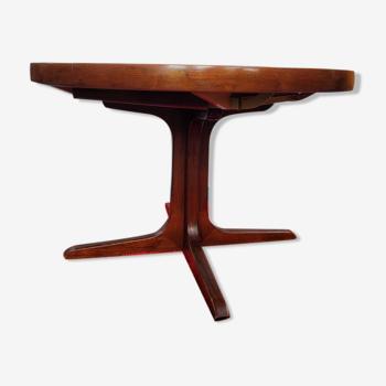Table ronde de style Baumann avec rallonges intégrées des années 70