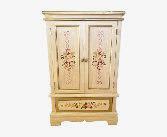 Cabinet en bois fleuri 2 portes