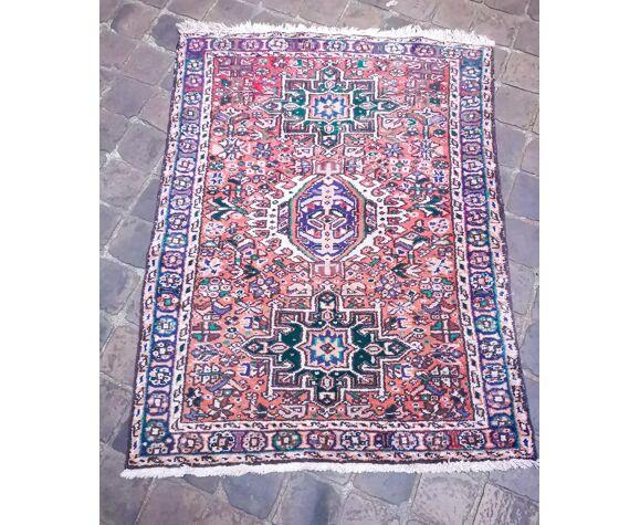 Tapis d'orient fait main vintage persan Heriz 140 x 105 cm