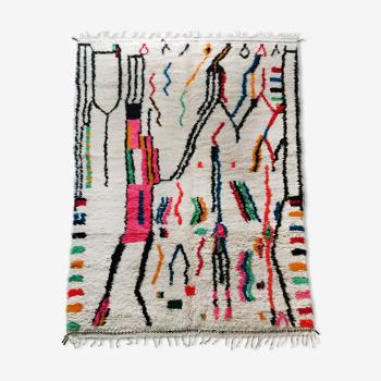 Tapis berbère marocain Azilal écru à motifs colorés 292x188cm