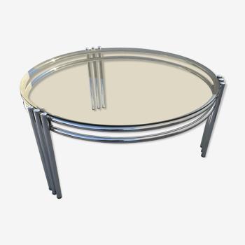 Table basse 70 en acier chromé et verre fume