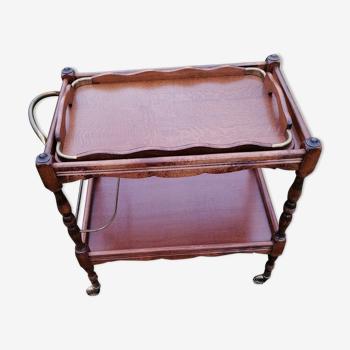 Desserte a roulette en bois et fer ancienne